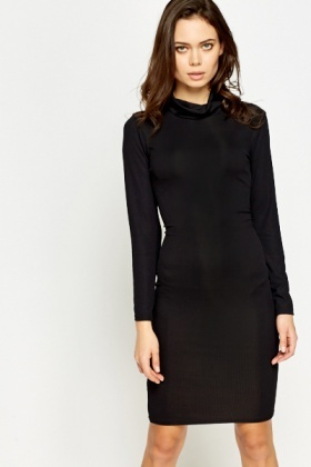 Roll Neck Black Bodycon Dress