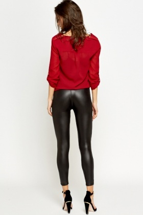 Shiny Zip Front Leggings
