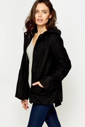 Wool Blend Hooded Jacket