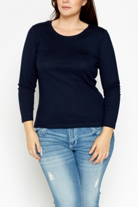Basic Navy Cotton Top