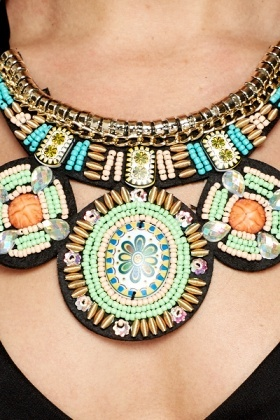 Beaded Tribal Collar Necklace