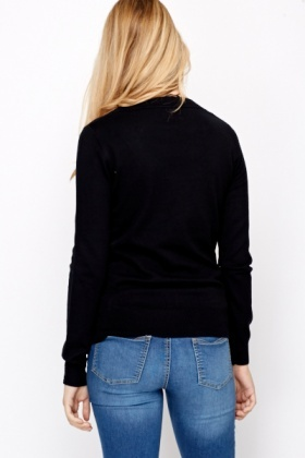 Black Cotton Blend Jumper