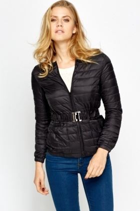Black Puff Quilted Jacket