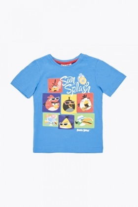 Blue Angry Birds Print T-Shirt