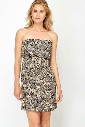 Contrast Lace Print Bandeau Dress