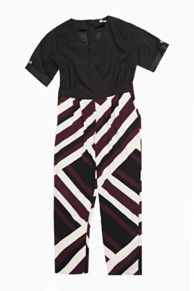 Crossover Striped Jumpsuit