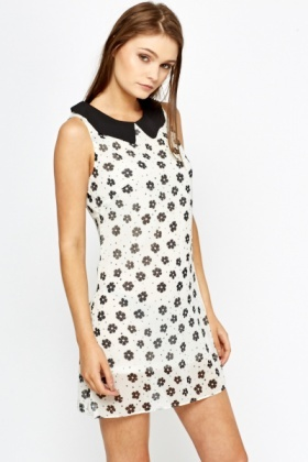 Daisy Print Collared Shift Dress
