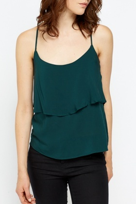 Dark Green Layered Swing Top