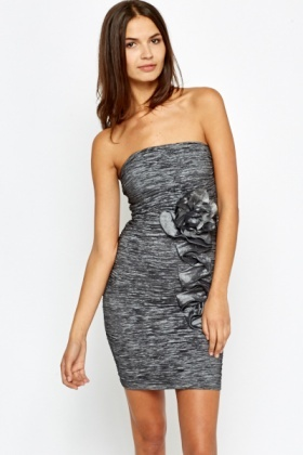 Dark Grey Bandeau Speckled Dress