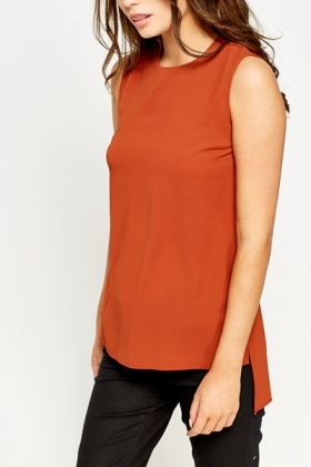 Dip Hem Sleeveless Top