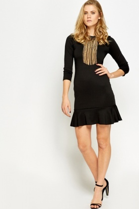 Flared Hem Bodycon Dress