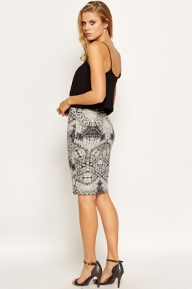 Geo Printed Bodycon Skirt