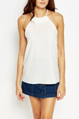 High Neck White Cami Top