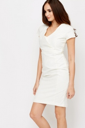 Jacquard White Office Dress