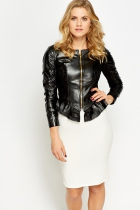 Lace Insert Ruffled PU Jacket