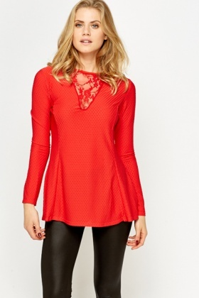 Lace V-Neck Red Swing Top