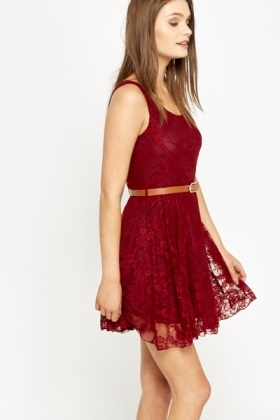 Maroon Lace Overlay Skater Dress
