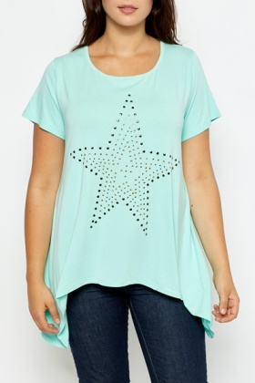 Mint Star Embellished Dip Side Top