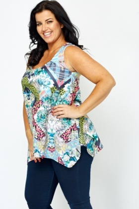 Mix Print Flared Hem Top