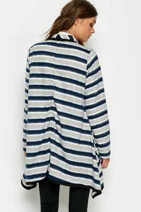 Navy Striped Oversized Waterfall Cardigan - Just £5