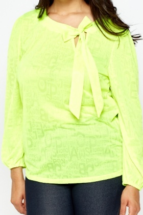 Neon Green Sheer Blouse