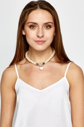Pearl Chain Encrusted Heart Necklace