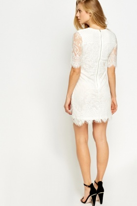 Perforated Lace Overlay Dress
