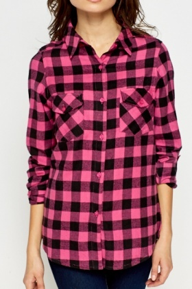 Pink Checked Cotton Shirt