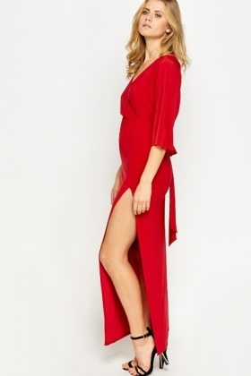 Plunge Neck Split Side Maxi Dress