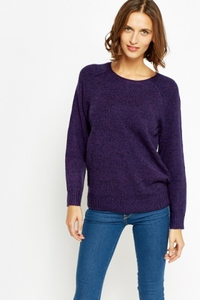 Ribbed Neck Speckled Jumper