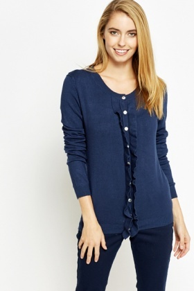 Ruffled Button Up Cardigan
