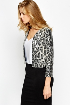 Sequin Leopard Print Jacket