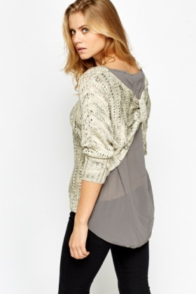 Sheer Inert Ruched Back Knit Top