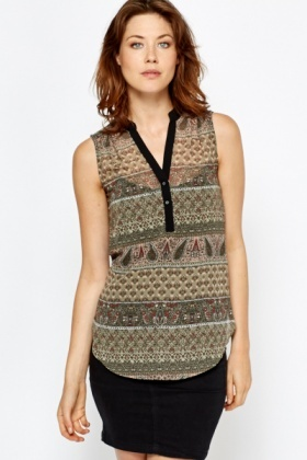Sleeveless Mix Paisley Print Top