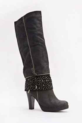 Encrusted Black Heeled Boots