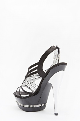 Encrusted Front Sateen Heeled Sandals