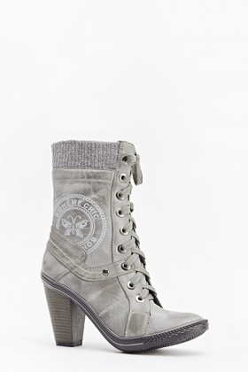 Faded Print Lace Up Boots