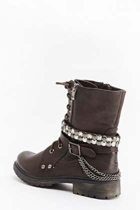Lace Up Black Chain Boots