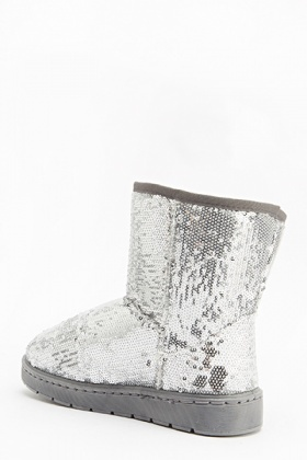 Sequin Embellished Ankle Boots