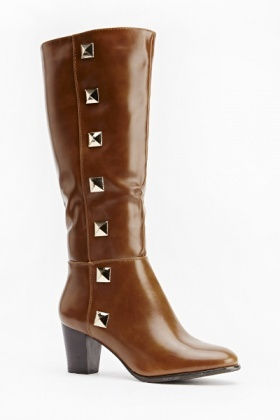 Studded Side PU High Boots