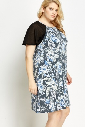 Blue Printed Sheer Yoke Swing Dress