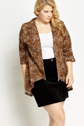 Brown Leopard Print Open Cardigan