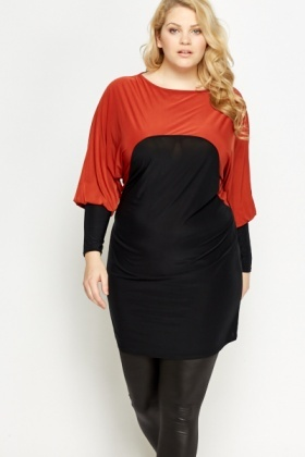 Colour Block Batwing Sleeve Tunic