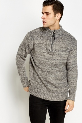 Contrast Zip Up Neck Jumper