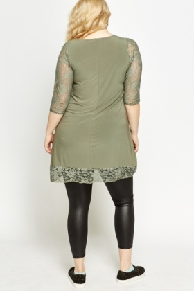 Dipped Hem Lace Insert Top