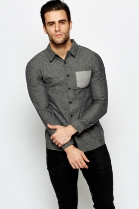 Grey Textured Cotton Blend Shirt
