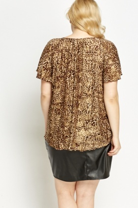 Metallic Leopard Print Top