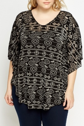 Sheer Aztec Velveteen Batwing Top