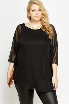Sheer Overlay Flare Sleeve Blouse