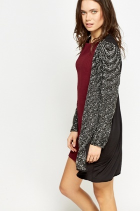 Contrast Back Black Cardigan